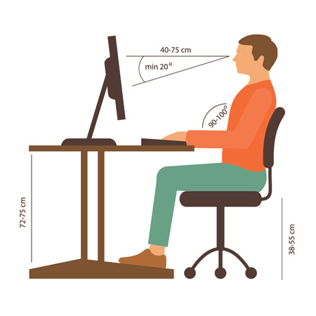 Sitting at a poorly set up desk and chair will affect your posture and can cause pain in your back, neck and shoulders. Learn these tips for proper sitting position while you work.